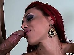 Charming tgirl attains happy by a stud with obsession