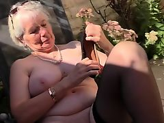 British horny grown up playing outside